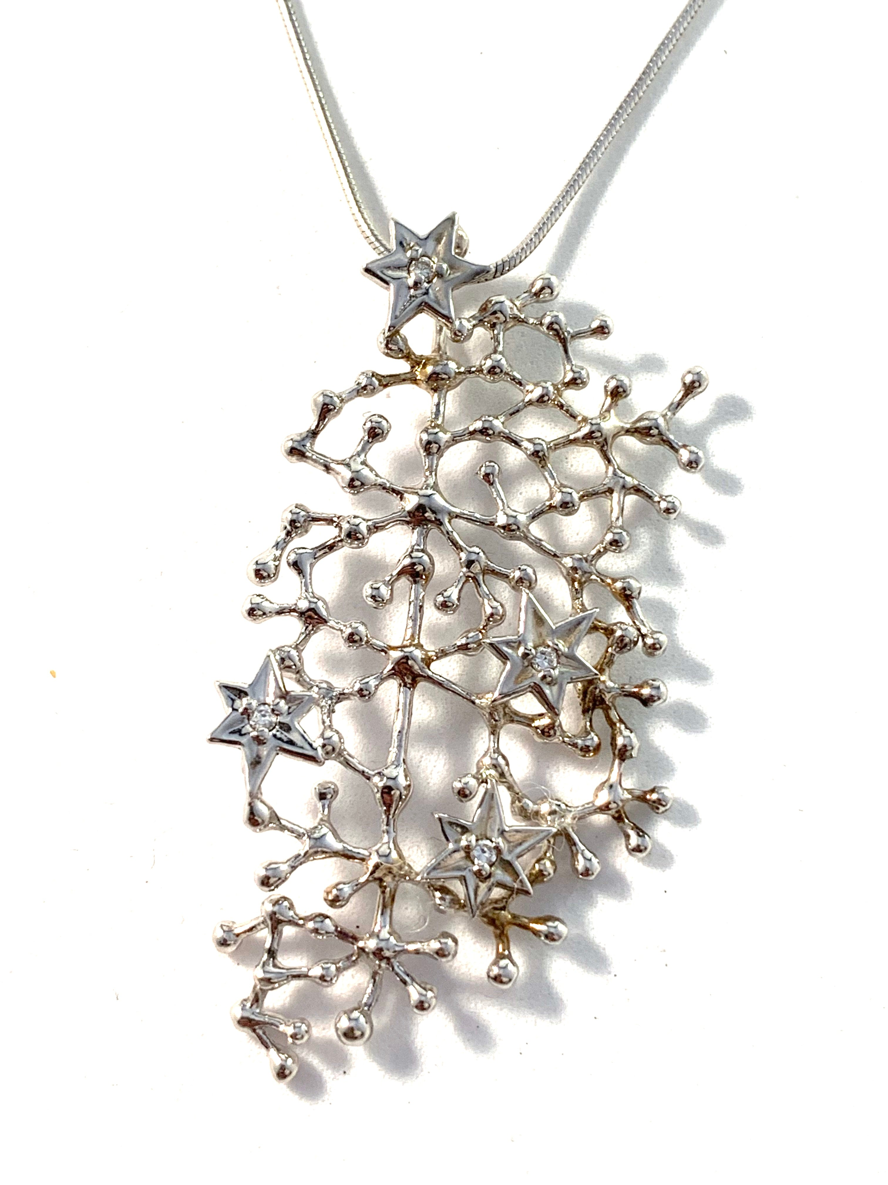 "Tapio Wirkkala for Kultakeskus Finland Sterling Pendant Necklace. ""Starry Sky"""