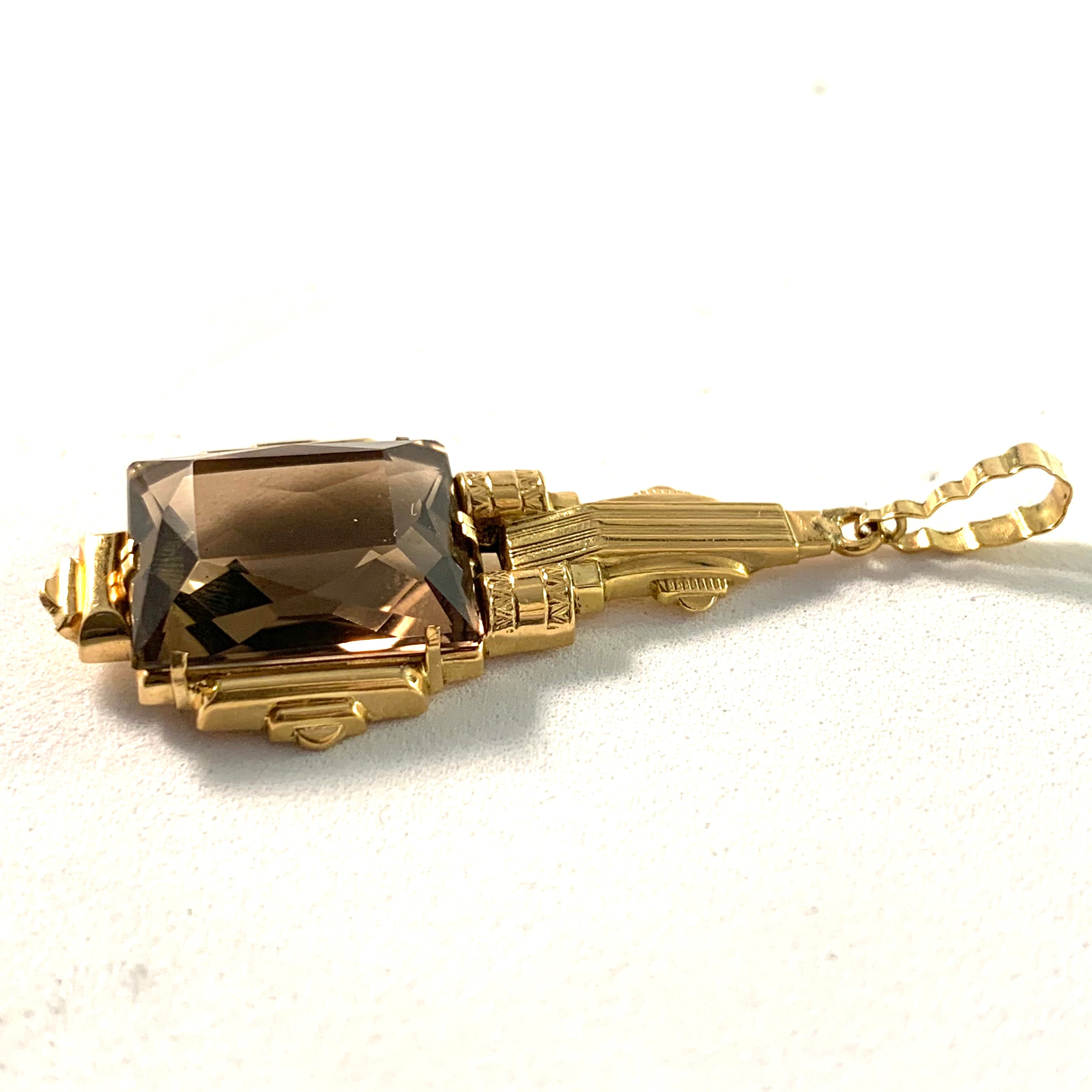 Art Deco 1930s 18k Gold Smoky Quartz Pendant.