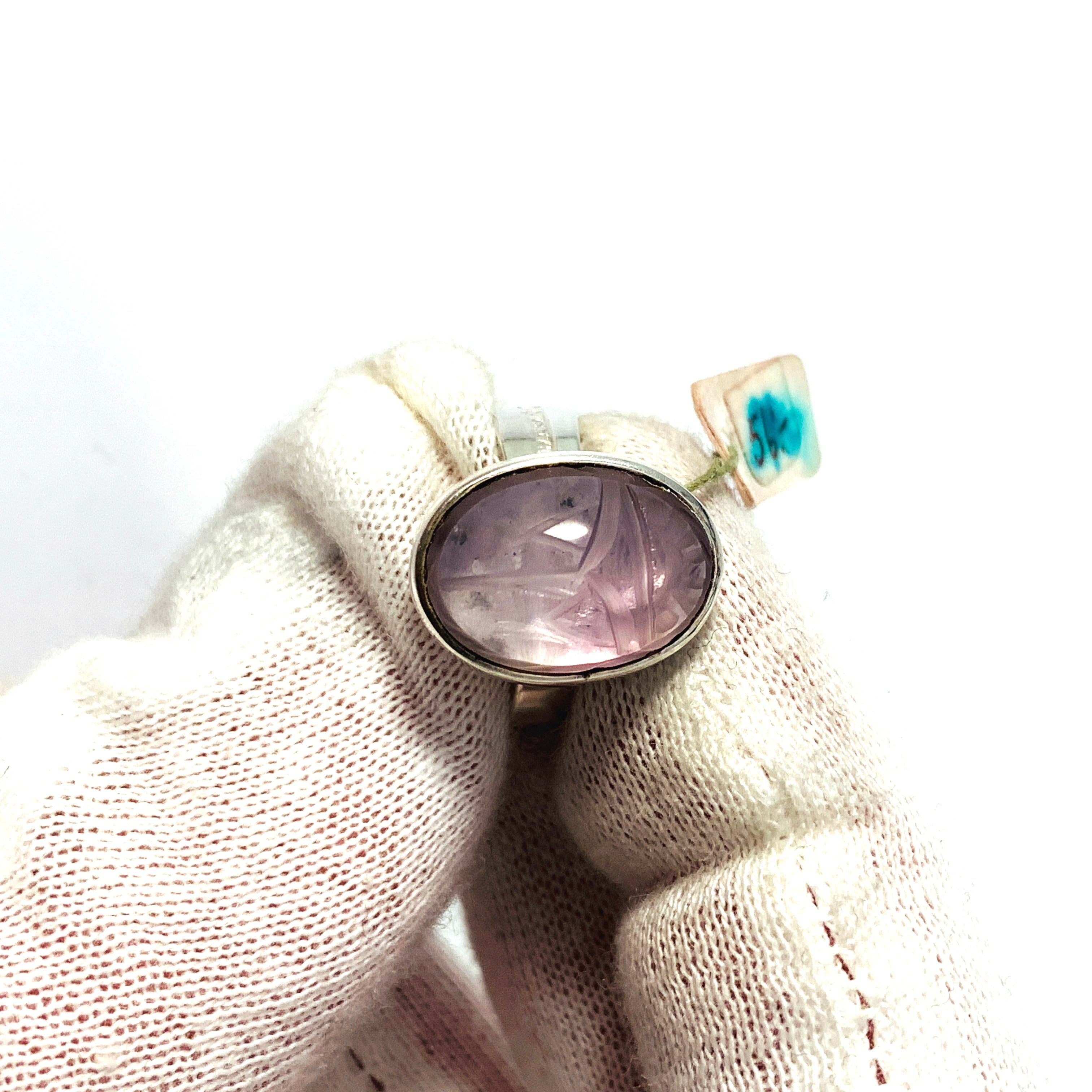 Hansen, Sweden 1965. Sterling Silver Rose Quartz Scarab Ring. New Old Stock.