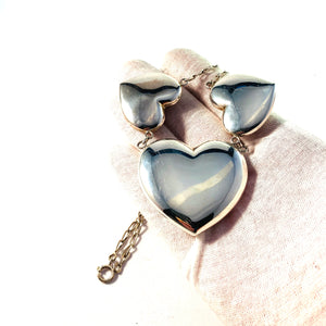 Vintage Large 830 Silver Hearts Love Necklace.