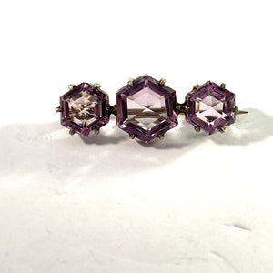 Sweden, Antique Edwardian Solid Silver Amethyst Brooch Pin.