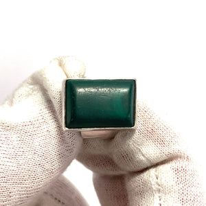 Kjellin, Sweden 1971 Vintage Sterling Silver Malachite Ring.
