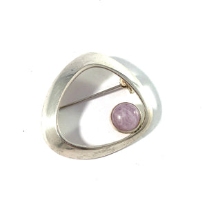 Heikki Kaksonen for Kaunis Koru, Finland 1965 Sterling Silver Rose Quartz Brooch