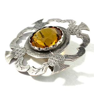 Antique Solid 830 Silver Thistle Cairngorm Quartz Brooch.