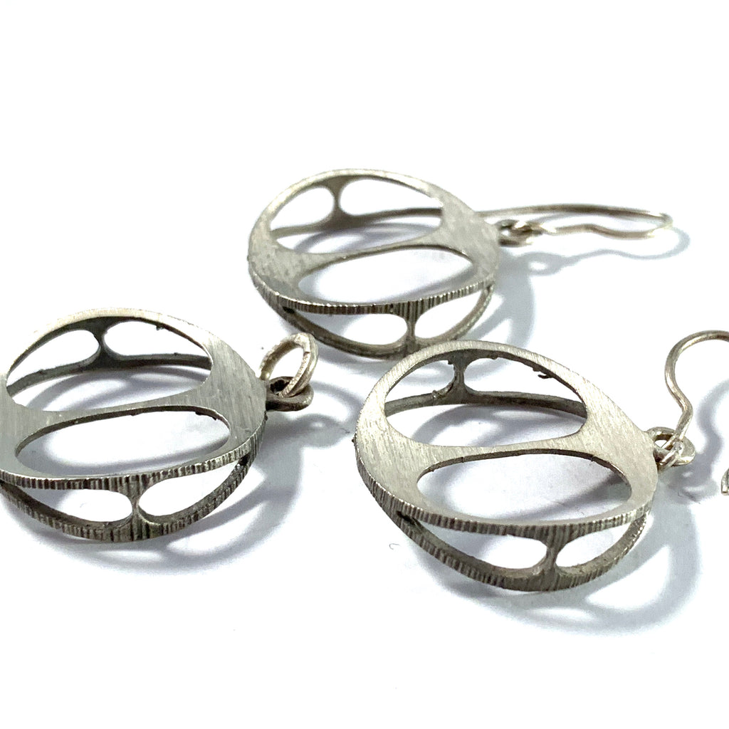 Karl Laine for Sten & Laine Finland 1970-73 Solid Silver Earrings and Pendant.