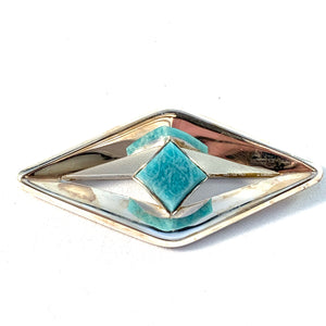 Finland 1960s Vintage Silver Hard Stone Brooch.
