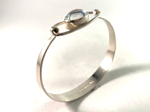 Erik Granit, Finland 1963 Silver Rock Crystal Bangle Bracelet.