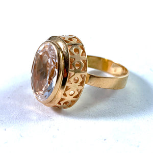 Modernist 18k Gold Rock Crystal Ring