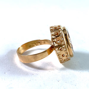 Örneus, Stockholm year 1969 Modernist 18k Gold Rock Crystal Ring