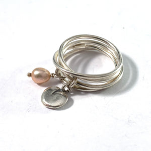 Kalevala Koru, Finland Vintage Sterling Silver Cultured Pearl Ring. Design: Twinflower