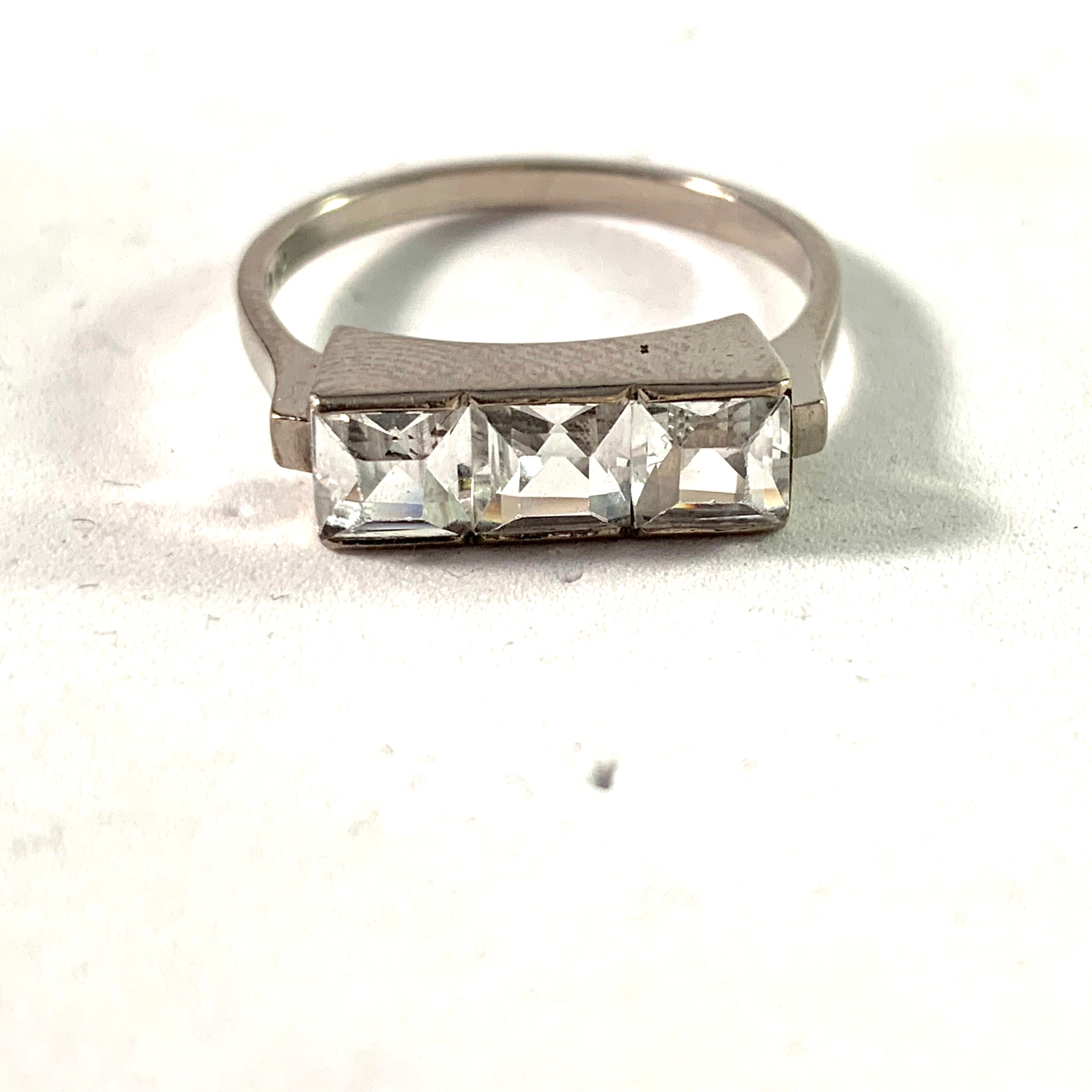 Nils Widberg, Sweden 1951, Mid Century 18k White Gold Rock Crystal Ring