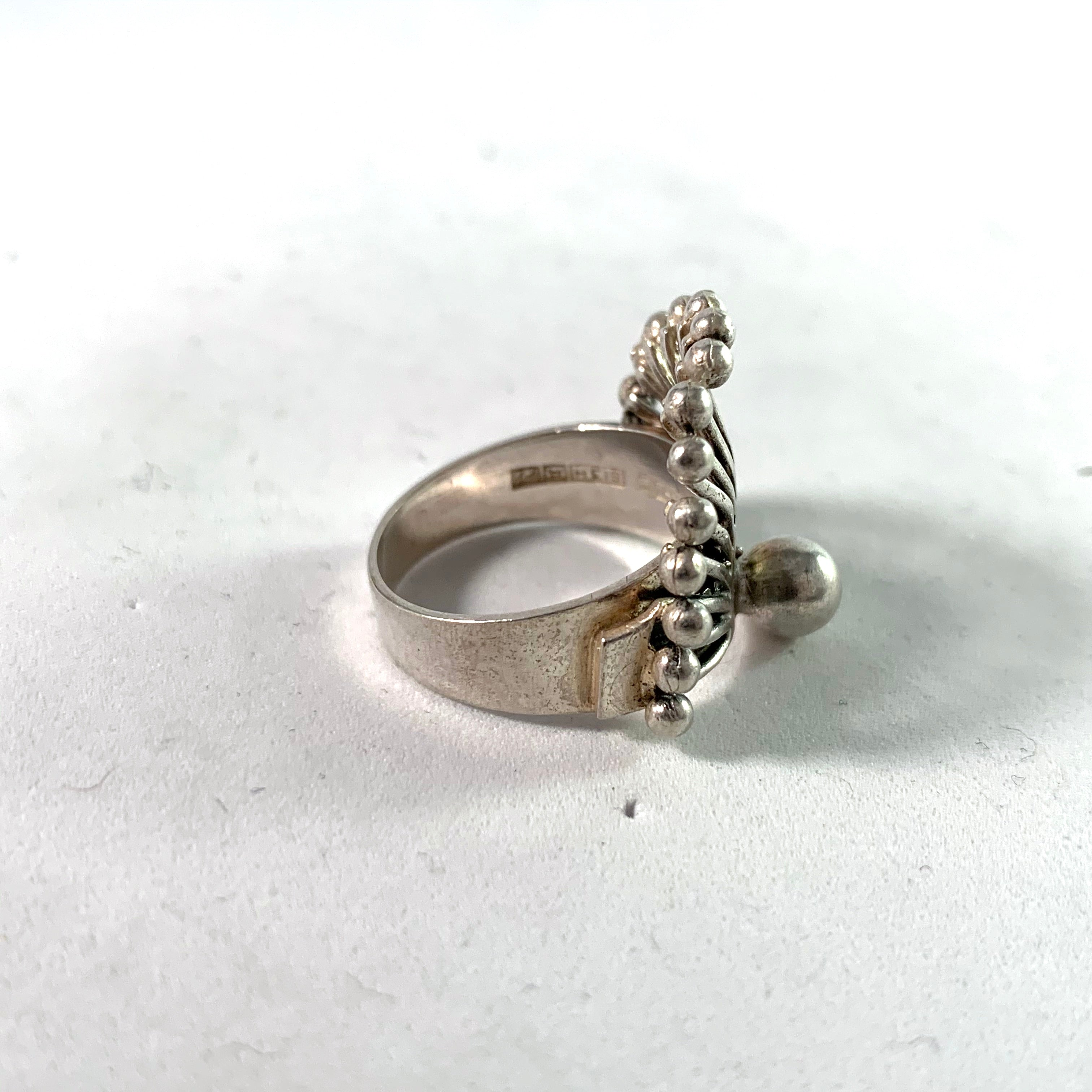 Turun Hopea, Finland 1968 Modernist Silver Ring.