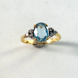 Vintage Aquamarine Diamond Ring