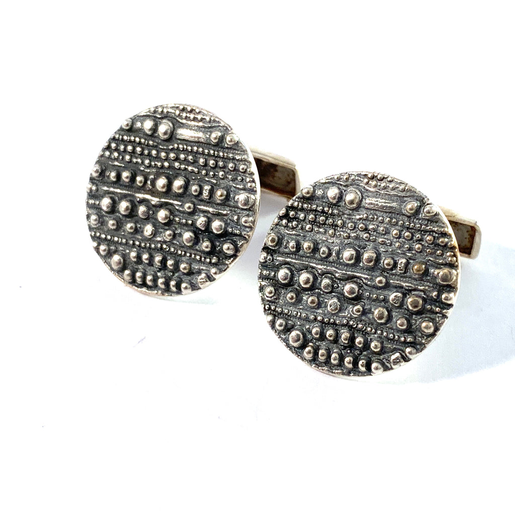 Jorma Laine for Kultateollisus, Finland 1972 Solid Silver Large Pair of Cufflinks