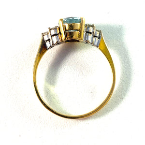 Mid Century 14k Gold Aquamarine Diamond Ring