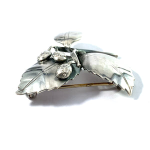 Gertrud Engel for A Michelsen Sweden year 1950. Mid Century Sterling Silver Brooch. Signed.