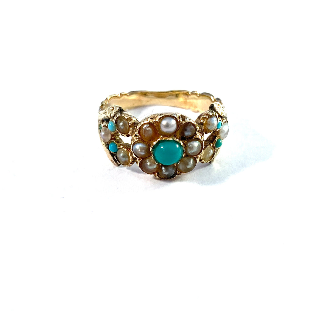 Sweden year 1822. Georgian 18k Gold Turquoise Seed Pearl Ring.