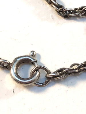Germany WW1-Era early 1900s 830 Silver Glass Jet Mourning Necklace.