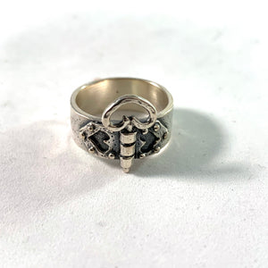 Kello Oy, Finland 1972 Vintage Sterling Silver Heart Love Ring.