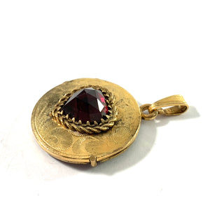 1930-40s Gilt 835 Silver Bohemian Garnet Locket Pendant. Germany.