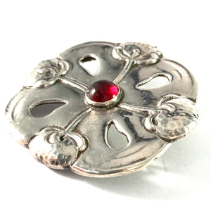 SL Jacobsen & Co, Copenhagen 1910-17 Art Nouveau Skonvirke 830 Silver Paste Brooch