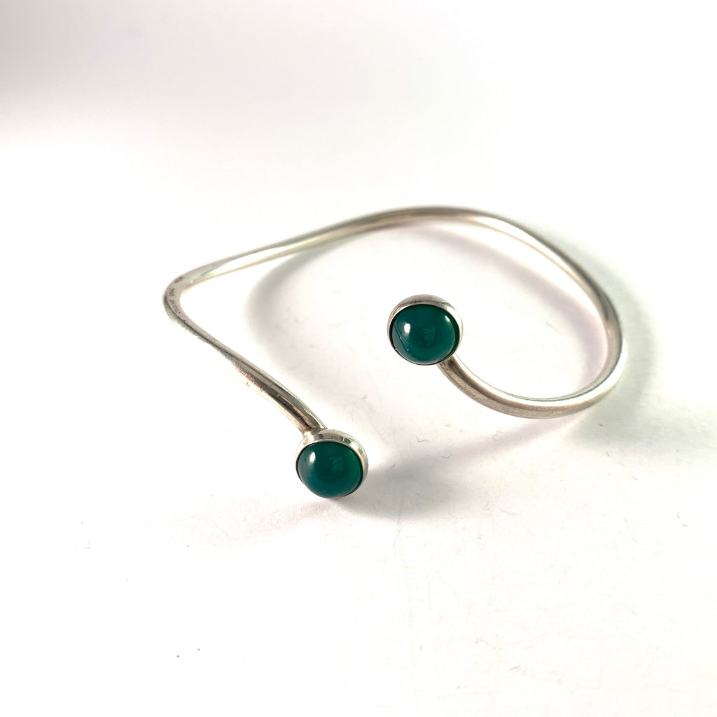 Niels Erik From, Denmark 1950-60s Sterling Silver Chrysoprase Bangle Arm Bracelet.