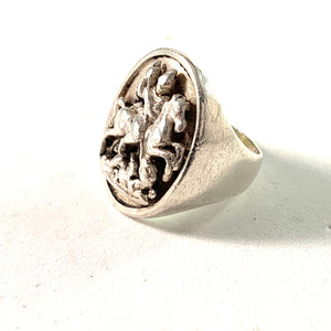 Maker SM, France c year 1890 Antique Sterling St George and the Dragon Ring