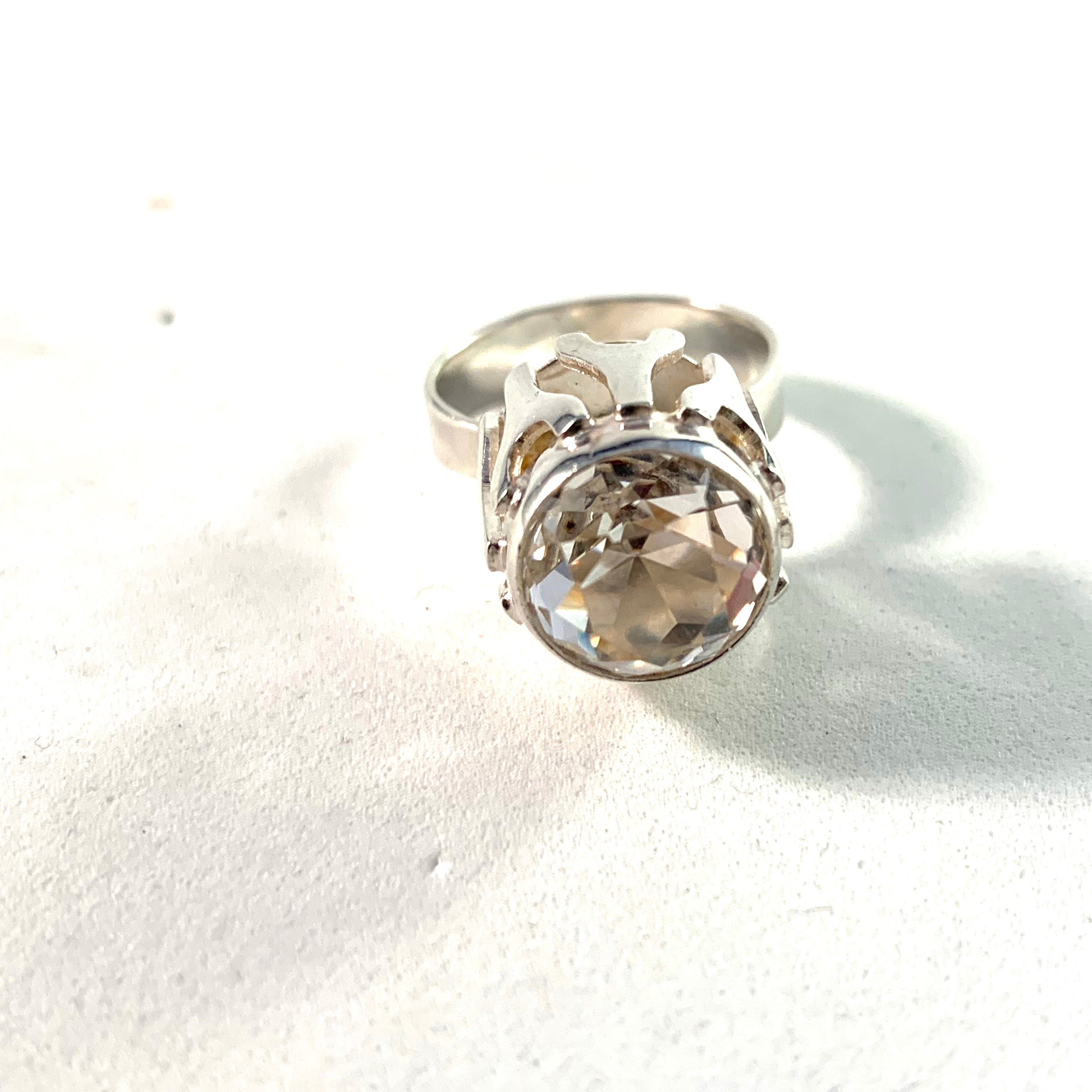 Germany 1960s Modernist 835 Silver Rock Crystal Ring.