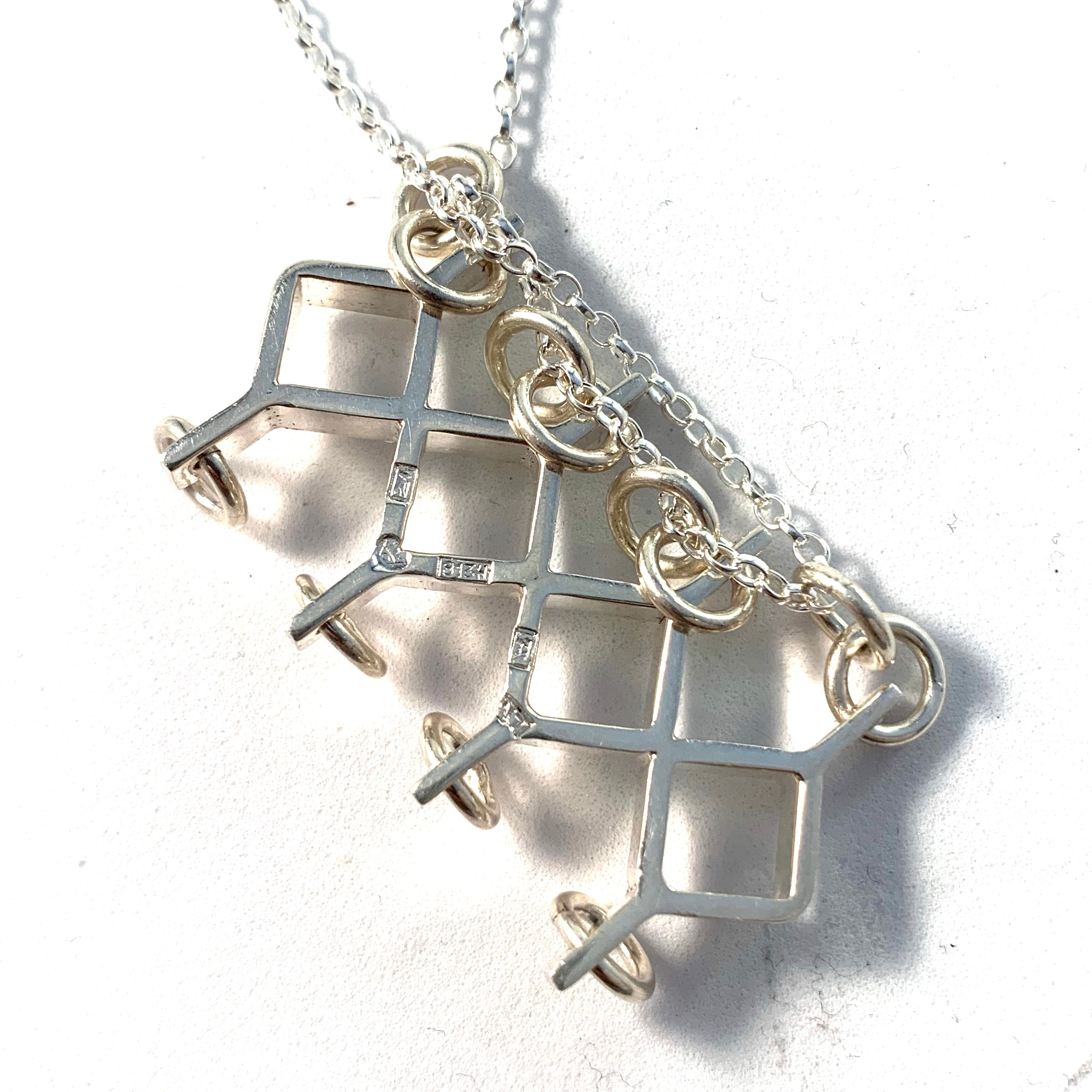 Jorma Laine for Kultateollisus, Finland 1966 Modernist Silver Pendant With A New Sterling Chain.