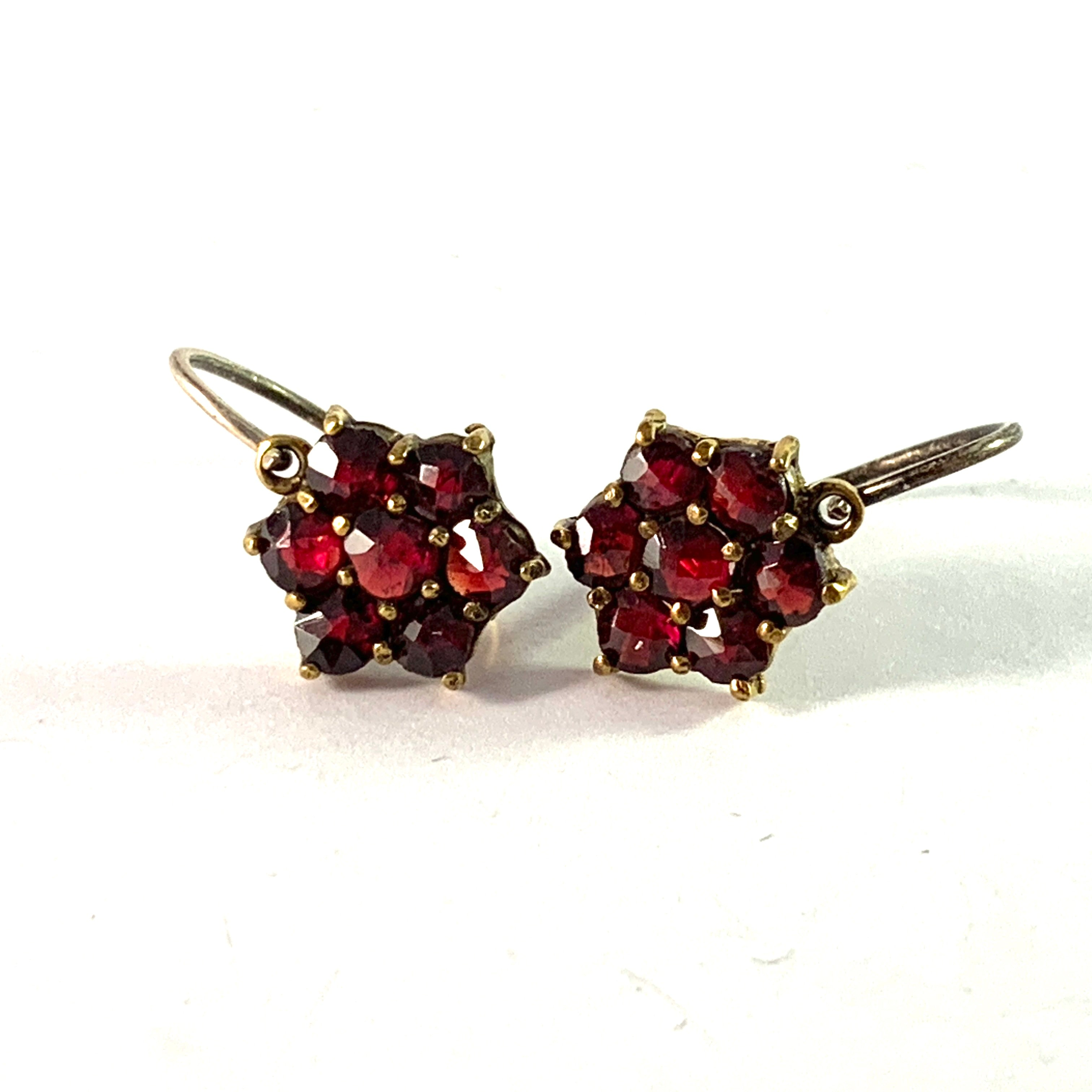 Vintage Mid Century Bohemian Garnet Partly Gilt Solid Silver Earrings.