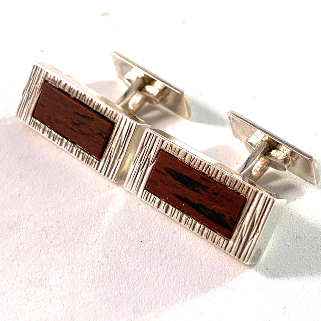 Germany Mid Century 830 Large Silver Hardstone Cufflinks