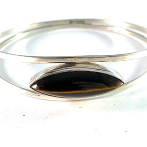 Kaplan, Stockholm 1964 Sterling Silver Tiger Eye Bangle Bracelet.