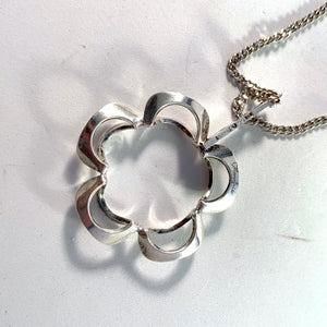 Theresia Hvorslev for Alton, Sweden year 1970 Sterling Silver Pendant Necklace. Design: Reflex. Signed.