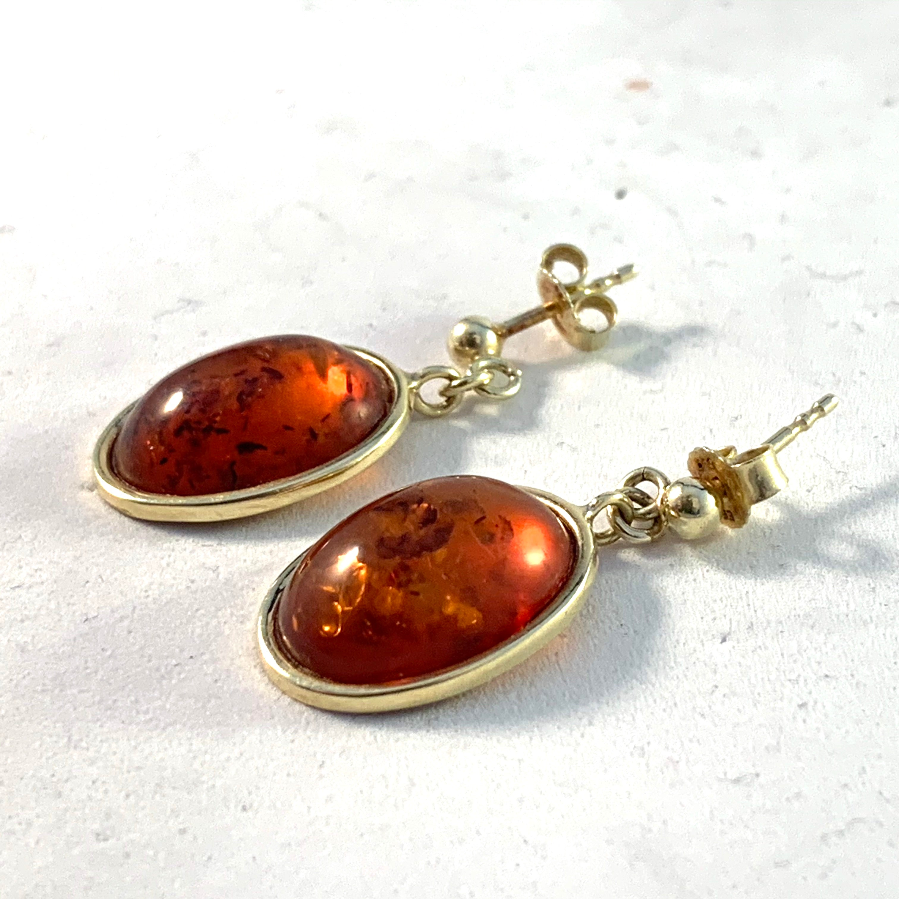 Einer Fehrn, Denmark 1960s 14k Gold Amber Earrings.