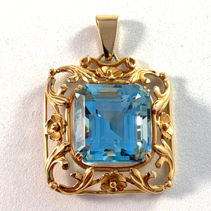 Ceson, Sweden 1953 Mid Century 18k Gold Synthetic Spinel Pendant.