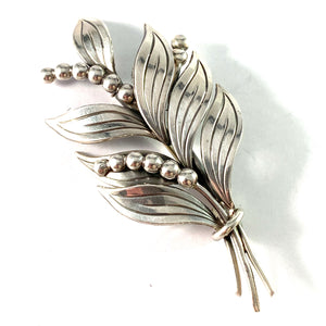 Kaplan, Sweden 1950s Solid Silver Lily of the Valley Brooch.