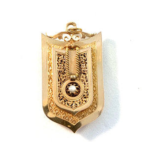 Germany c 1900 Jugendstil 18k Gold Locket Pendant.