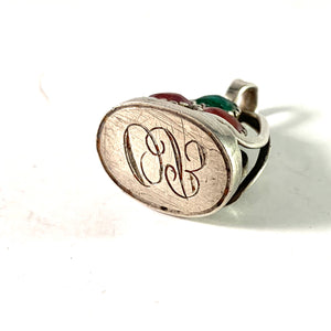 Adam Westberg, Sweden 1852 Early Victorian Solid Silver Paste Stone Fob Seal Pendant. OB or OR