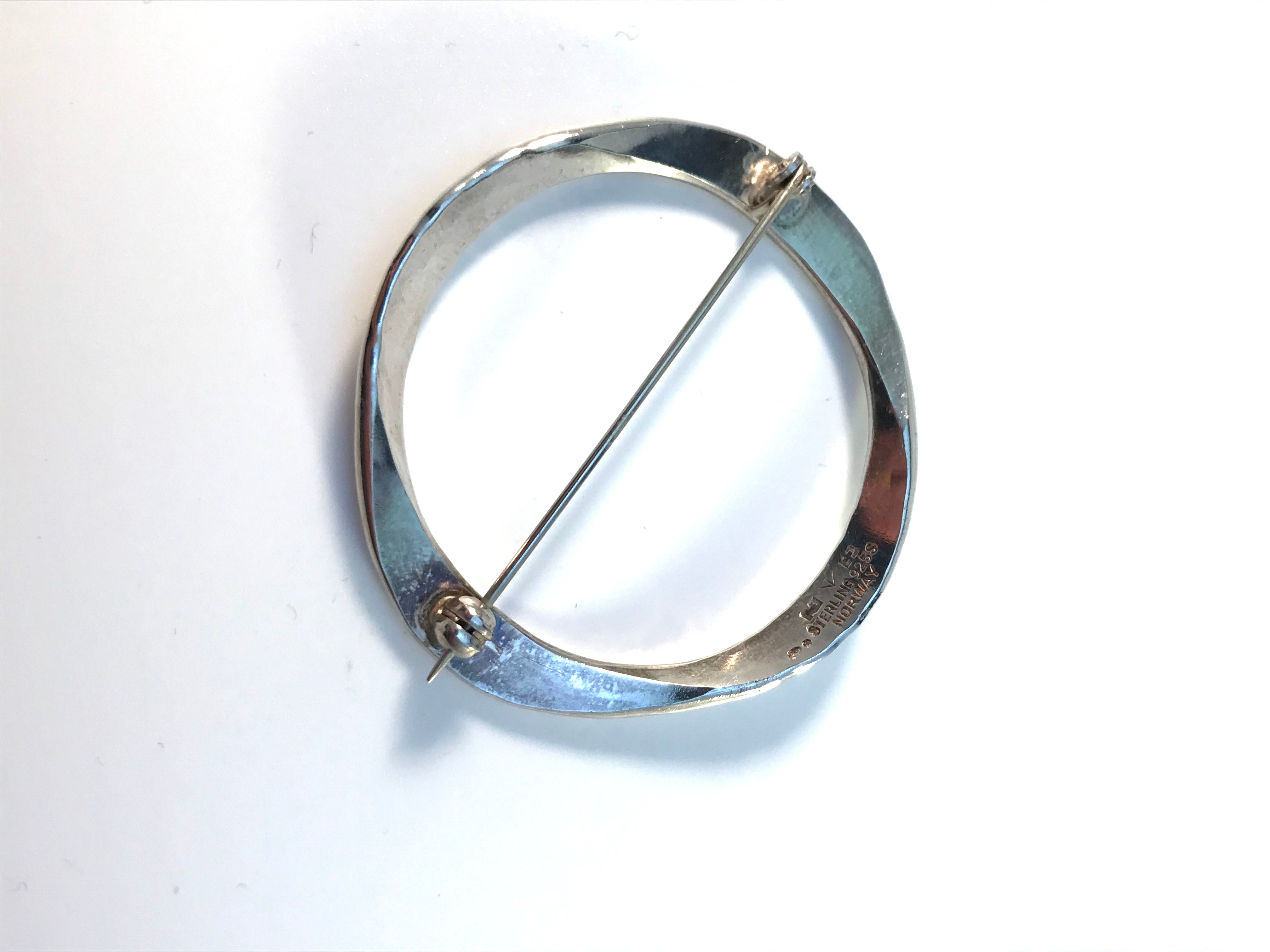 Tone Vigeland, for Plus Studios Norway 1960s Hand Hammered Sterling Silver Brooch Pin.