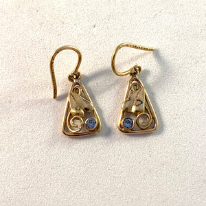 Mid Century 18k Gold Ice Blue Quartz Earrings.