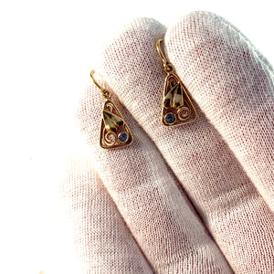 Wilhelm Harbeck, Stockholm 1945 Mid Century 18k Gold Ice Blue Quartz Earrings.