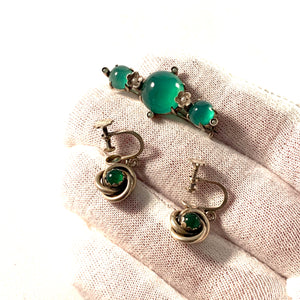 Raag & Havam, Sweden 1958 Solid 830 Silver Chrysoprase Brooch and Earrings