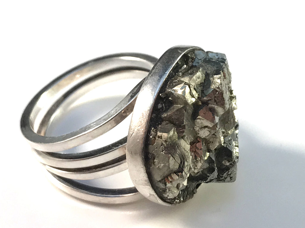 Stenlya, Stockholm year 1972 Sterling Silver Pyrite Modernist Ring.