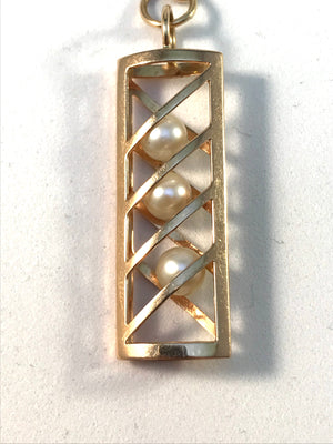 Finland year 1967 Modernist 14k Gold Kinetic Cultured Pearl Pendant.
