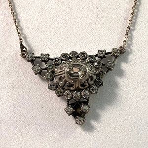 Germany early 1900s. 830 Silver Paste Stone Necklace.