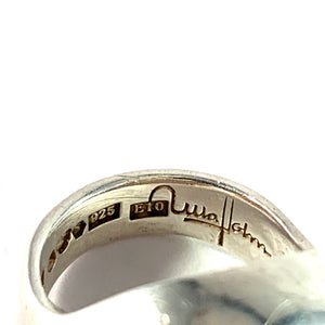 Ulla Holm, Gothenburg 1979.  Sterling Silver Bombe Ring. Gold Detail. Signed.