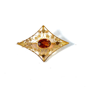 Stockholm year 1907. Antique Edwardian 18k Gold Citrine Brooch.