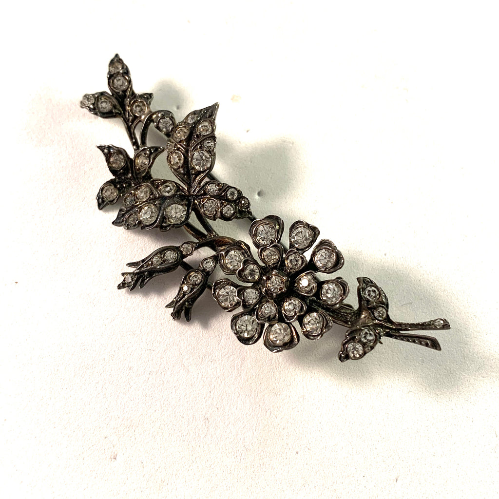 France 1930s Vintage Solid Silver Paste Stone Brooch.