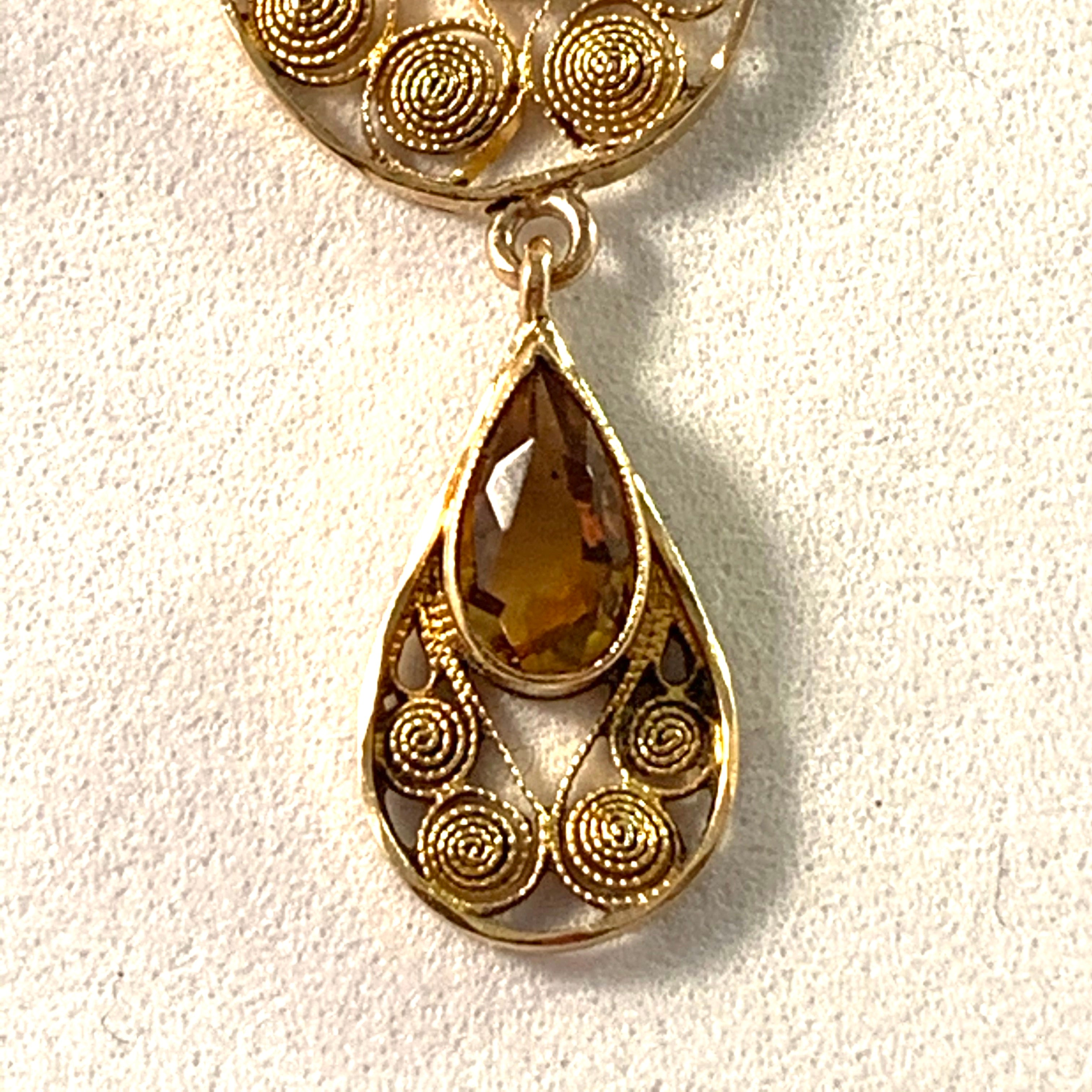 J Petterson, Sweden 1905. Edwardian Antique Jugendstil 18k Gold Citrine Necklace