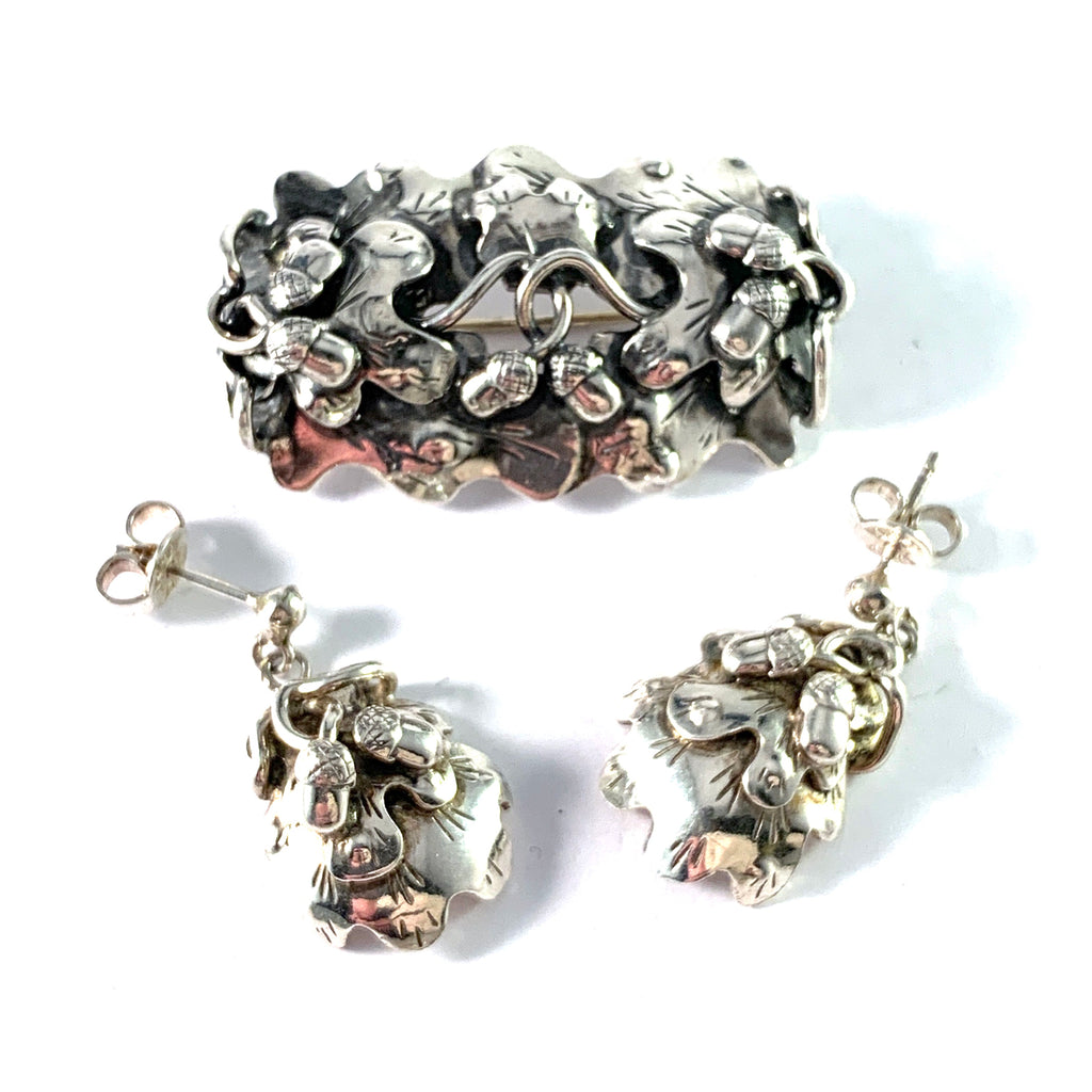 Tre-Ess, Sweden 1946. Mid Century Sterling Silver Acorn Brooch and Earrings. Handmade.